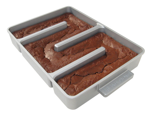 Baker&#x27;s Edge Brownie Pan with freshly baked brownies
