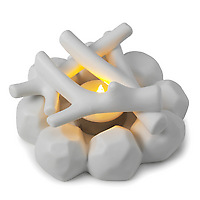 Porcelain Campfire by David Weeks for Kikkerland with LED tea light on