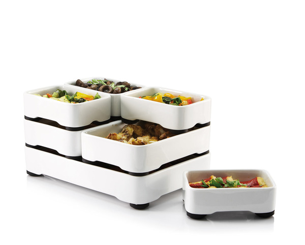 Stackable Oven-to-Table Cookware by Christian Bjorn multi-course meal