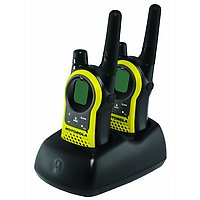Motorola Talkabout MH230R Rechargeable Two-Way Radios in base