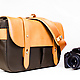 Classic Leather Camera Satchel with camera
