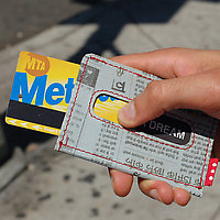 Holstee Recycled Wallet slide out metro pass