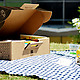 Boxsal Picnic Box Office Escape on blue gingham with flowers