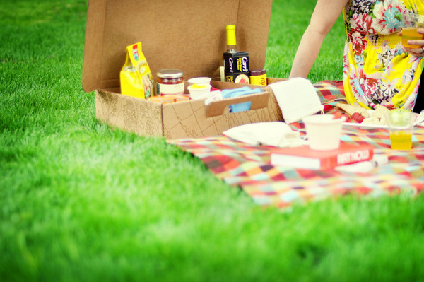 Boxsal Picnic Box Todays Date detail on grass with food