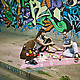Boxsal Picnic Box Urban Picnic with guy and girl on sidewalk with graffiti backdrop