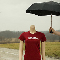 Wire and Twine Enjoy This Beautiful Day T-shirt under umbrella