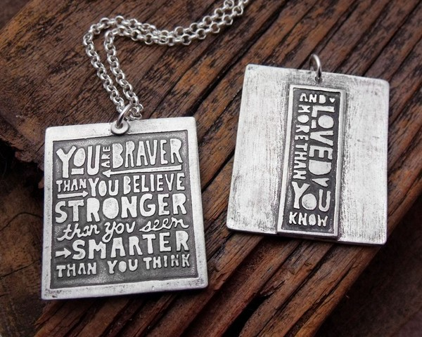 You are Braver Than You Believe Necklace by Lulu Bug front and back