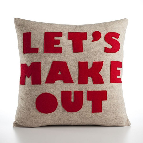 Let's Make Out Pillow by Alexandra Ferguson oatmeal and red