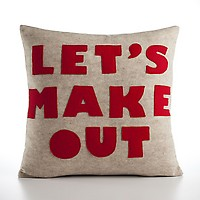 Let&#x27;s Make Out Pillow by Alexandra Ferguson oatmeal and red