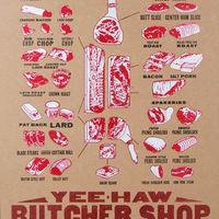 Pork Meat Cuts Letterpress Poster by YeeHaw Industries on Wantist