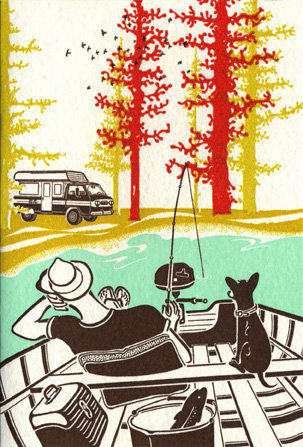 Camping Circa 1960s Letterpress Prints on Wantist