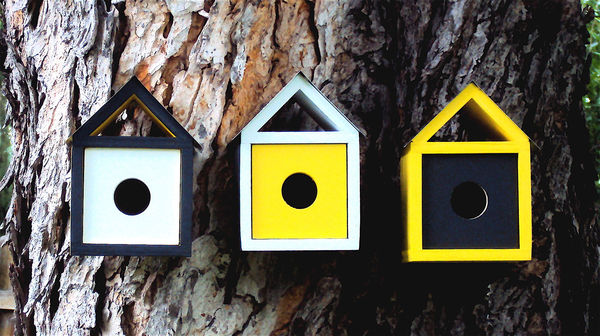 Trio of Mid Century Modern Birdhouses on Wantist