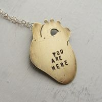 You Are Here Anatomical Heart Necklace on Wantist