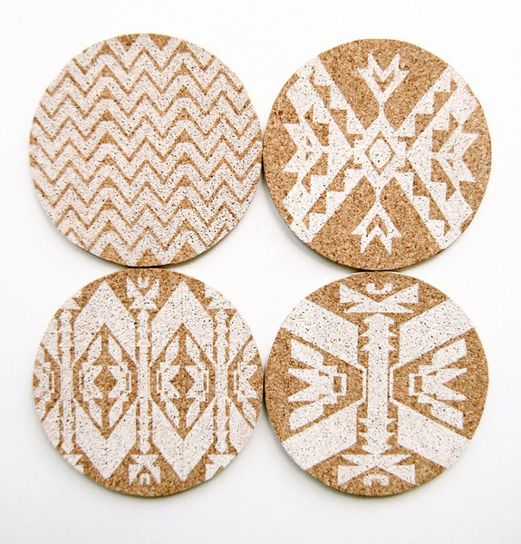 Mojave Cork Letterpress Coasters  Set of 4 6