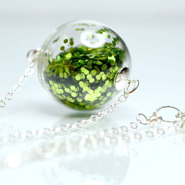 Glass Globe Glitter Necklace on Wantist