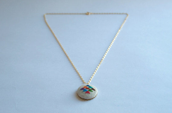 Golden Triangle Cross Stitched Pendant Necklace by Gamma Folk on Wantist