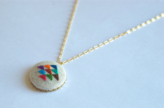 Golden Triangle Cross Stitched Pendant Necklace by Gamma Folk 7