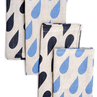 Raindrops Linen Napkins  Set of 4 1