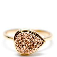 Drusy Drop Ring In Rosegold 1