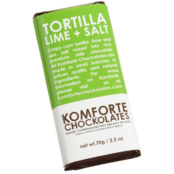 Komforte Chockolates Tortilla Lime and Salt Milk Chocolate Bar in green and white packaging