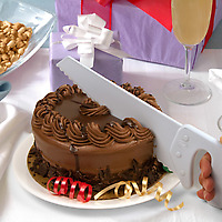 Fred Table Saw Cake Knife cutting a chocolate cake