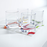 Set of four Modern-twist Grid Coaster Notz with glasses