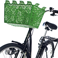 Green Carrie Bicycle Basket on black bike - cropped